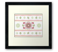 Pink Green  Mandala and Floral Design Framed Print