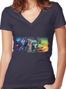 DC Legends of Tomorrow Paint Splash Women's Fitted V-Neck T-Shirt