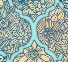 Moroccan Floral Lattice Arrangement - aqua / teal Sticker