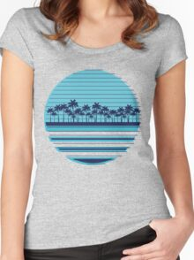 Palm trees blue beach Women's Fitted Scoop T-Shirt