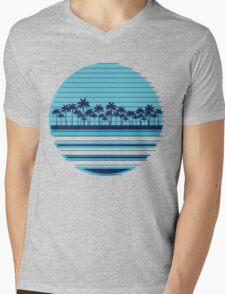 Palm trees blue beach Mens V-Neck T-Shirt