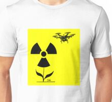 Drone hovers over a nuclear hazard sign Unisex T-Shirt