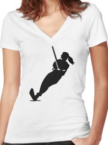 Water skiing woman Women's Fitted V-Neck T-Shirt