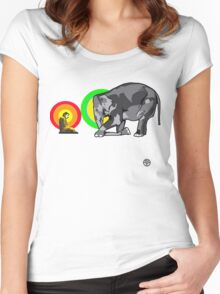 Buddha & The Elephant  Women's Fitted Scoop T-Shirt