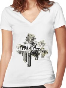 Nature -human Women's Fitted V-Neck T-Shirt
