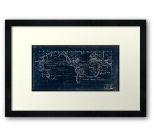 053  Map of the world on the Mercator projection Inverted Framed Print