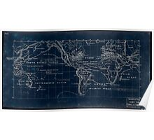 053  Map of the world on the Mercator projection Inverted Poster