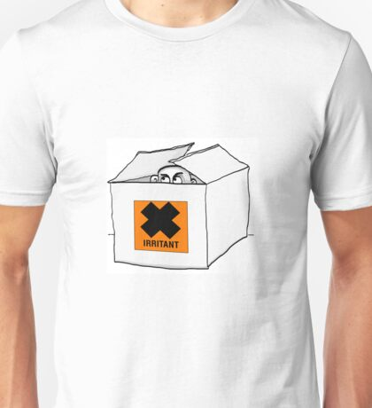 Irritating man peeks out of a box Unisex T-Shirt