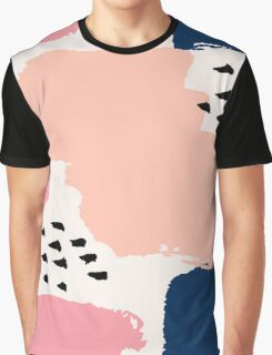 Pink, Navy and Black Abstract Graphic T-Shirt