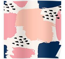 Pink, Navy and Black Abstract Poster