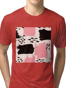 Black and Pink Abstract Tri-blend T-Shirt