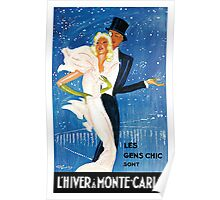 Vintage winter in Monter Carlo where people are chic advert Poster