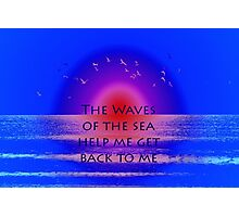 Waves of the Sea on Pink Horizon Photographic Print