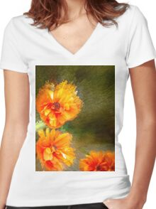 Orange poppy abstract Women's Fitted V-Neck T-Shirt