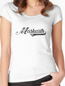 Skyrim Markarth Distressed Sports Lettering Women's Fitted Scoop T-Shirt