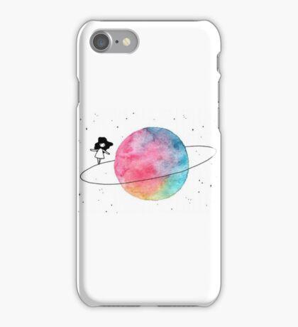 girl walking the moon iPhone Case/Skin