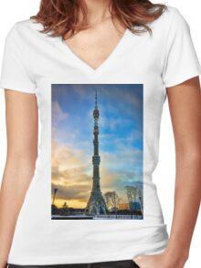 Ostankino Tower Women's Fitted V-Neck T-Shirt