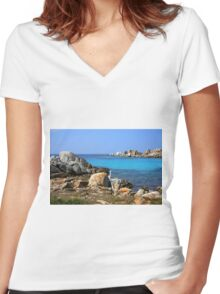 Rocks and water Women's Fitted V-Neck T-Shirt