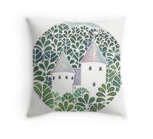 Castell Coch papercut Throw Pillow