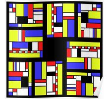 Yellow blue red white and black Poster