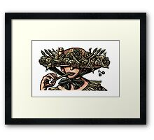 Woman in Hat Decorated with Vegetables Framed Print