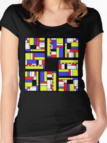 Yellow blue red white and black Women's Fitted Scoop T-Shirt