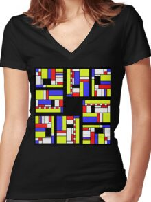 Yellow blue red white and black Women's Fitted V-Neck T-Shirt