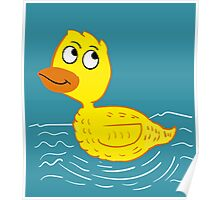 Wading Rubber Ducky Cartoon Poster
