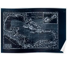 American Revolutionary War Era Maps 1750-1786 578 Les isles Antilles, et le golfe du Méxique Inverted Poster