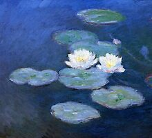 Two Water Lilies Monet Fine Art by Vicky Brago-Mitchell