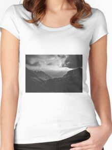 Total freedom - black and white landscape photography Women's Fitted Scoop T-Shirt
