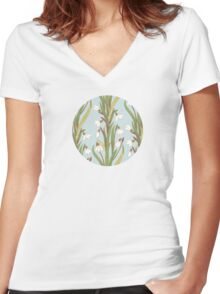 snowdrop flowers pattern grey Women's Fitted V-Neck T-Shirt