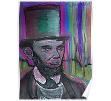 psychedelic president  Abraham Lincoln with stovepipe hat  and pink halo Poster