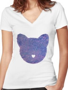 Heart Cat Women's Fitted V-Neck T-Shirt