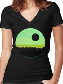 Black shades on the forest Women's Fitted V-Neck T-Shirt
