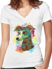 Bohemian Italian Greyhound Women's Fitted V-Neck T-Shirt
