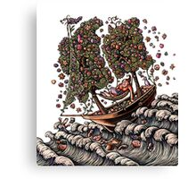 Ship with Flower Sails Canvas Print