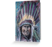 Geronimo with headdress colorful pastel Greeting Card
