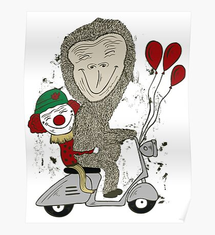 Fun Gorilla and Clown on Scooter Poster