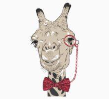 Giraffe hipster in eyeglasses and bowtie Kids Tee
