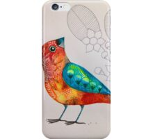 Orange bird line flowers iPhone Case/Skin