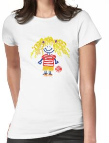 LITTLE CARTOON GIRL WITH CURLS Womens Fitted T-Shirt