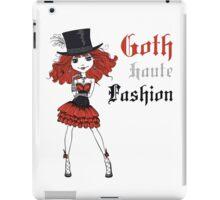 Goth girl in black dress and silk hat iPad Case/Skin