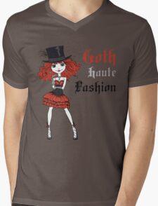Goth girl in black dress and silk hat Mens V-Neck T-Shirt