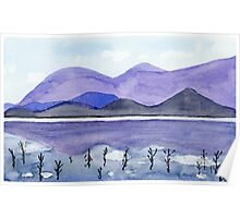 Purple Mountains - Watercolor Painting Poster