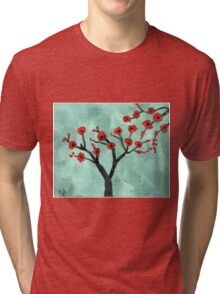 Abstract Red And Green Tree - Oil On Canvas Tri-blend T-Shirt