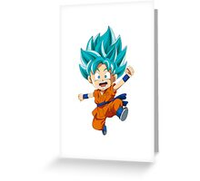 Super Saiyan Blue Chibi Goku Greeting Card