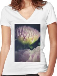 flower close up one Women's Fitted V-Neck T-Shirt