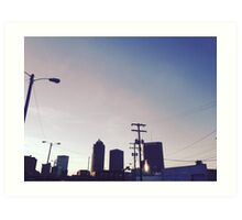 City skyline at dusk Art Print