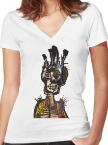 Basquiat African Skull Man Women's Fitted V-Neck T-Shirt